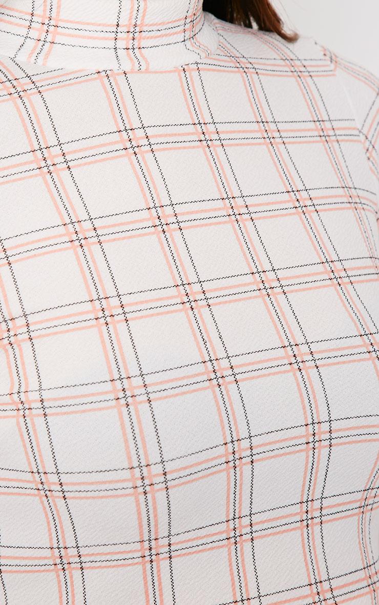 Lana White Grid Print Turtle Neck Crop Top  4