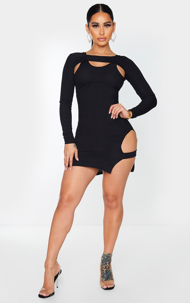 Shape Black Rib Cut Out Long Sleeve Bodycon Dress 3