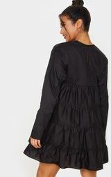 Black Tiered Long Sleeve Crew Neck Smock Dress 2
