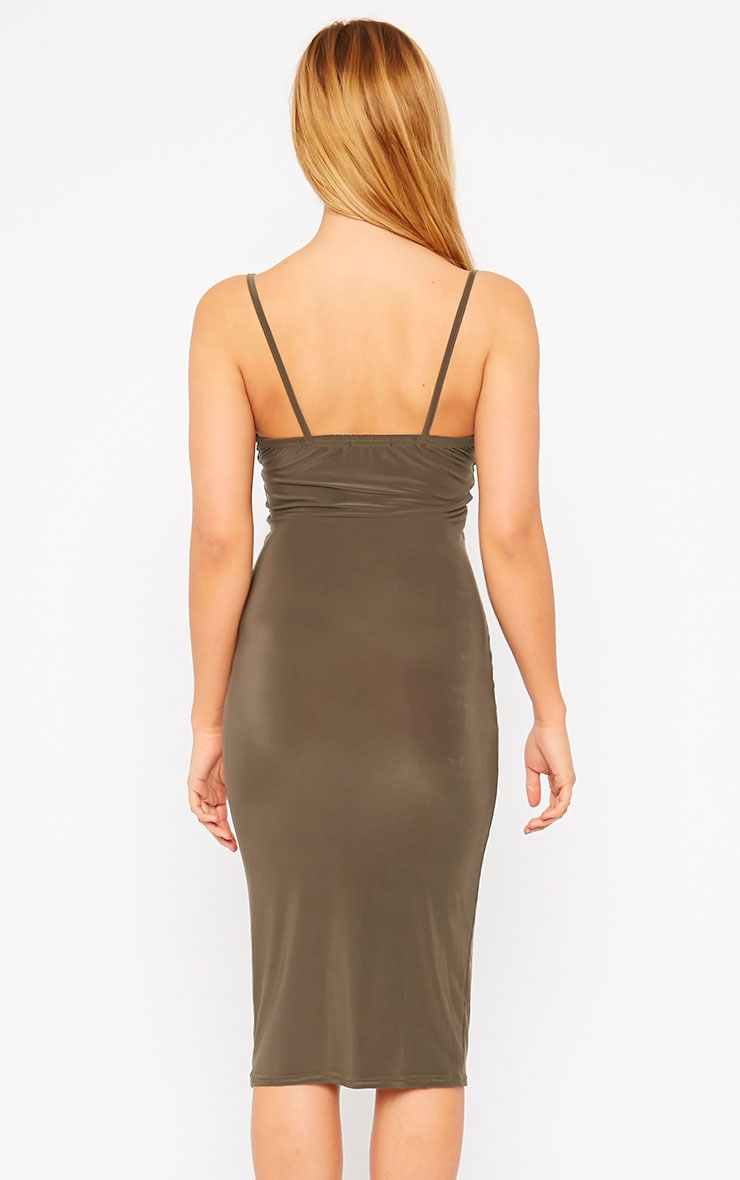 Harpe Khaki Slinky Midi Dress 2