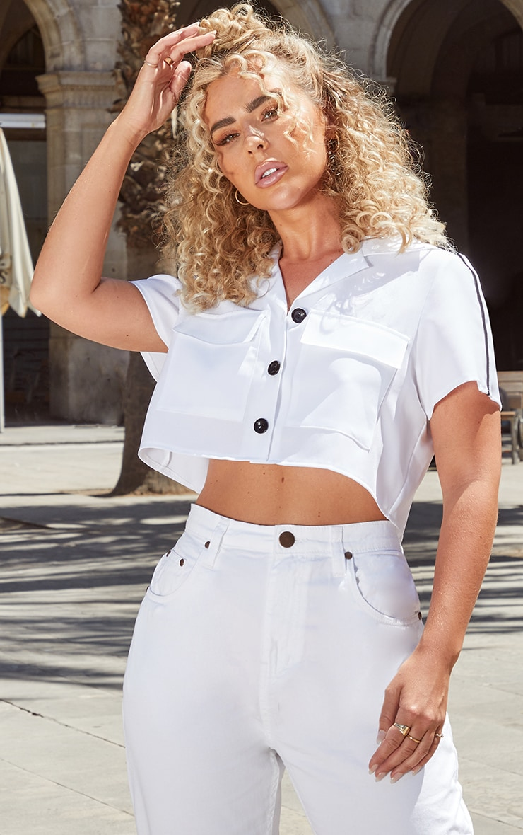 Petite White Cargo Pocket Detail Crop Shirt 1