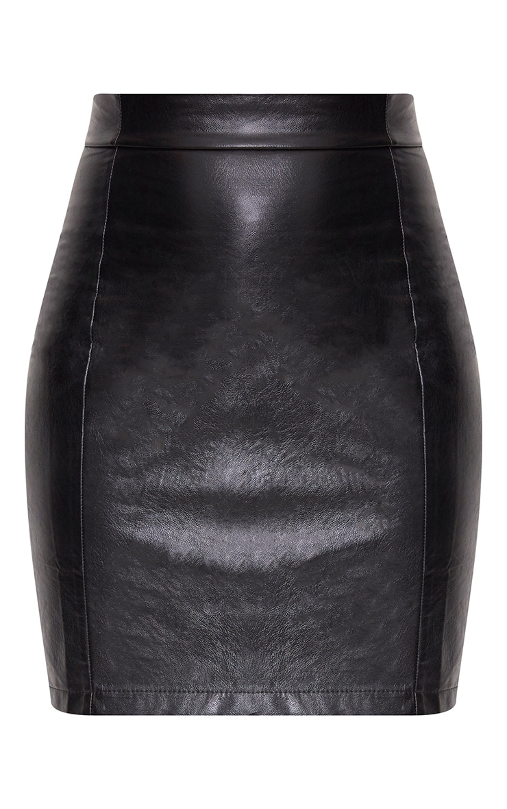 Black Back Zip Faux Leather High Waisted Mini Skirt 3