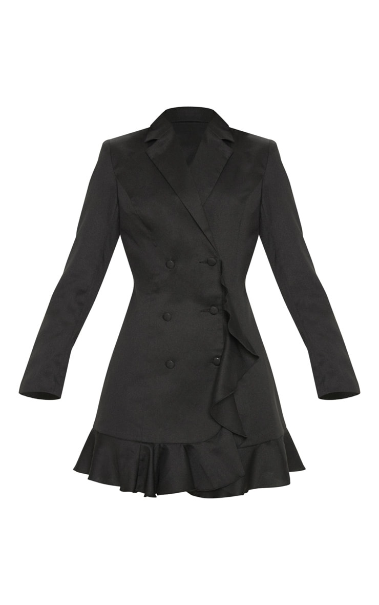 Black Frill Detail Blazer Dress 3