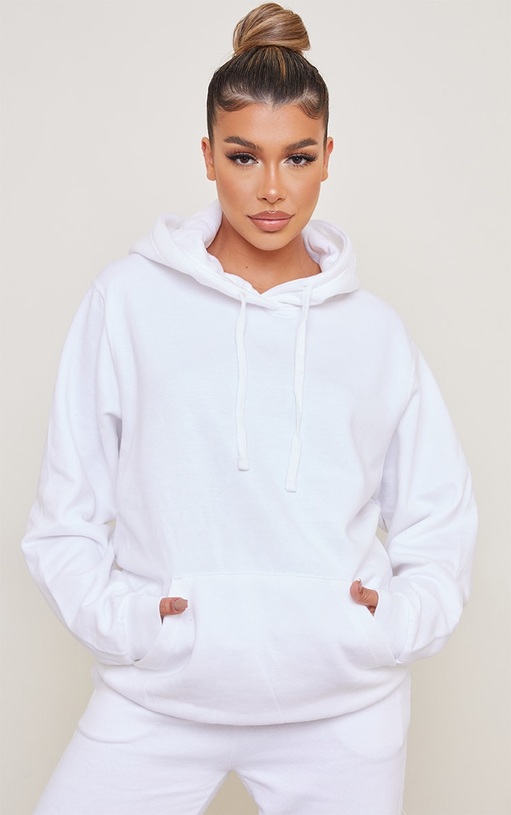 Recycled White Oversized Sweat Hoodie 1