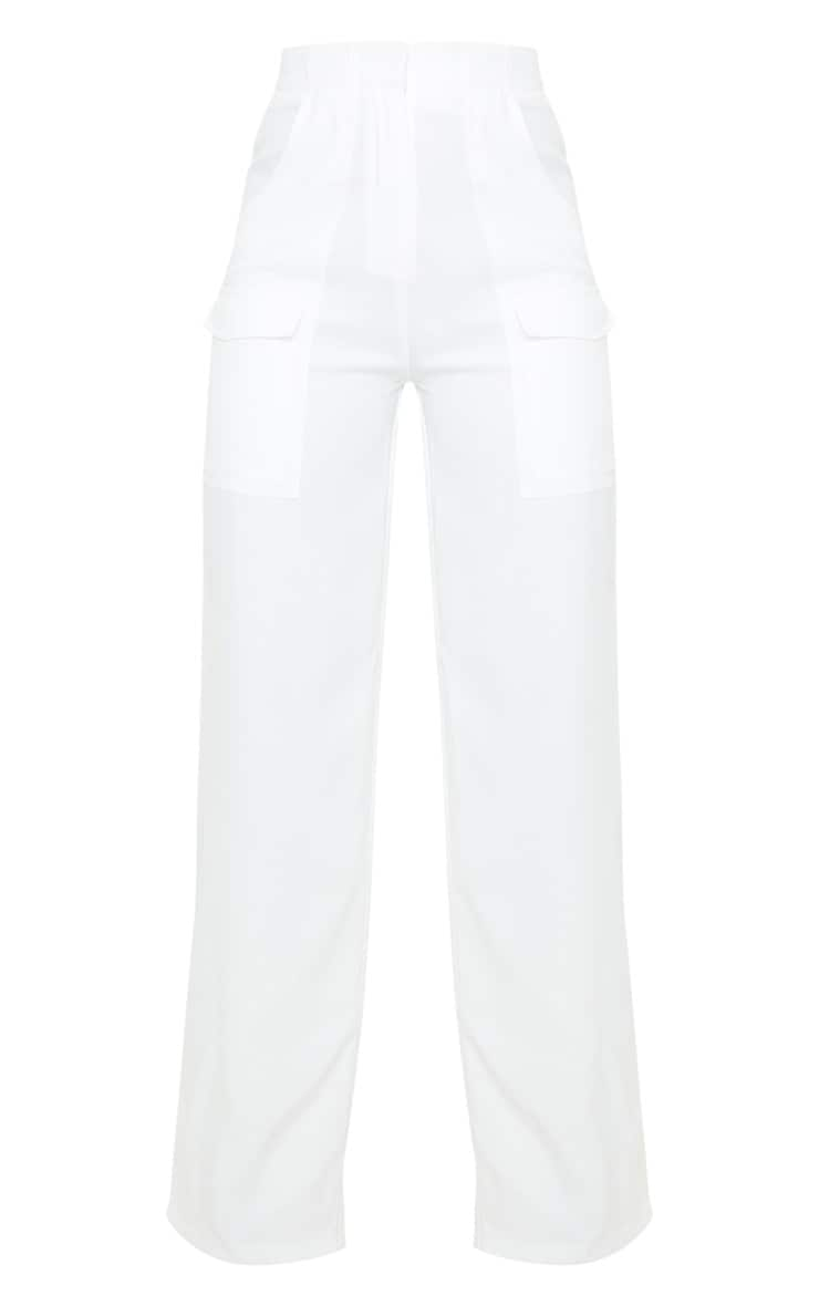 Cream Straight Leg Pocket Pants 3