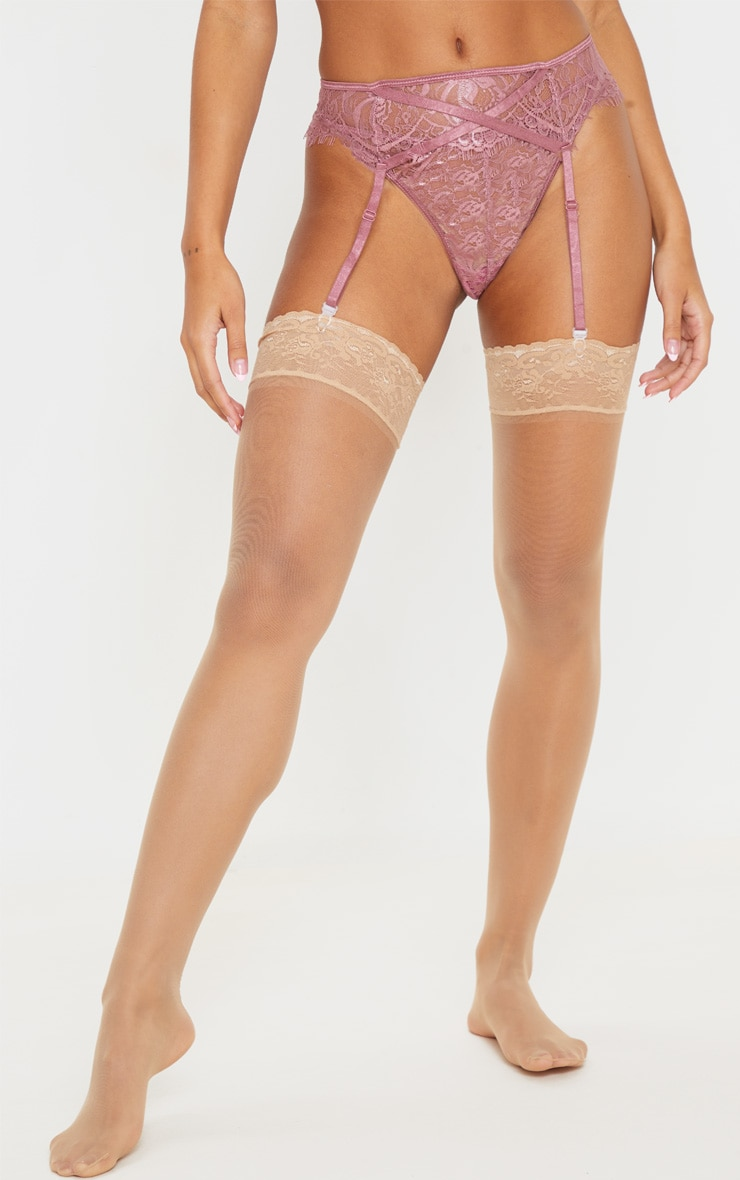 Mauve Eyelash Lace Suspender 2