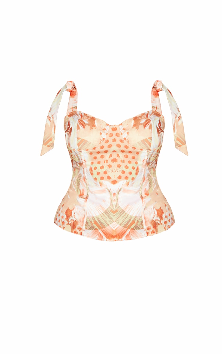 Plus Beige Marble Abstract Print Bow Ties Corset Top 5