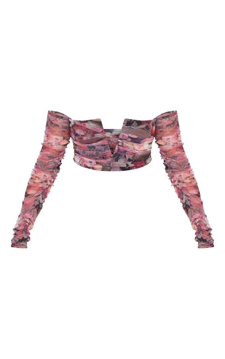 Pink Mesh Oriental Print V Wire Bardot Crop Top 5