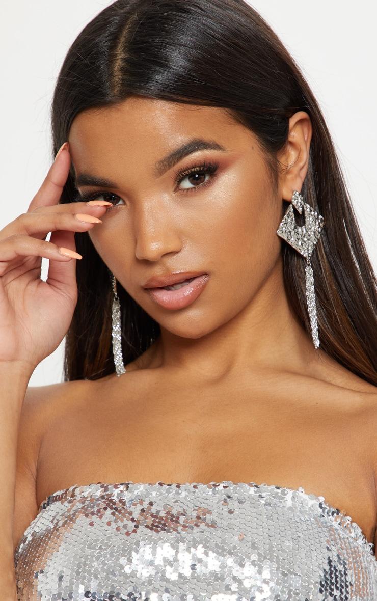 Silver Diamond Shape Tassel Drop Earrings
