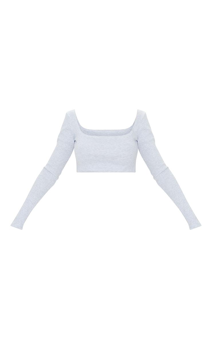 Oatmeal Marl Rib Square Neck Long Sleeve Crop Top 5