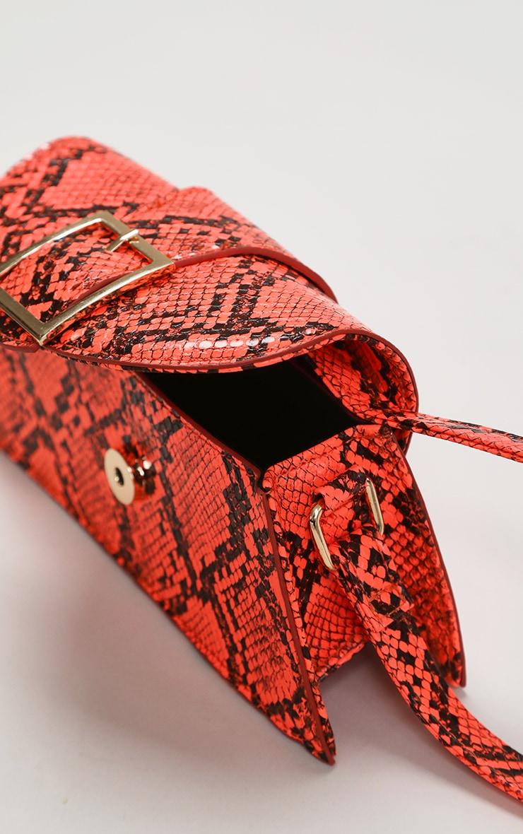 Orange Snake Baguette Bag 2