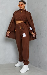 PRETTYLITTLETHING Chocolate Brown Badge Detail Fleece Joggers 1