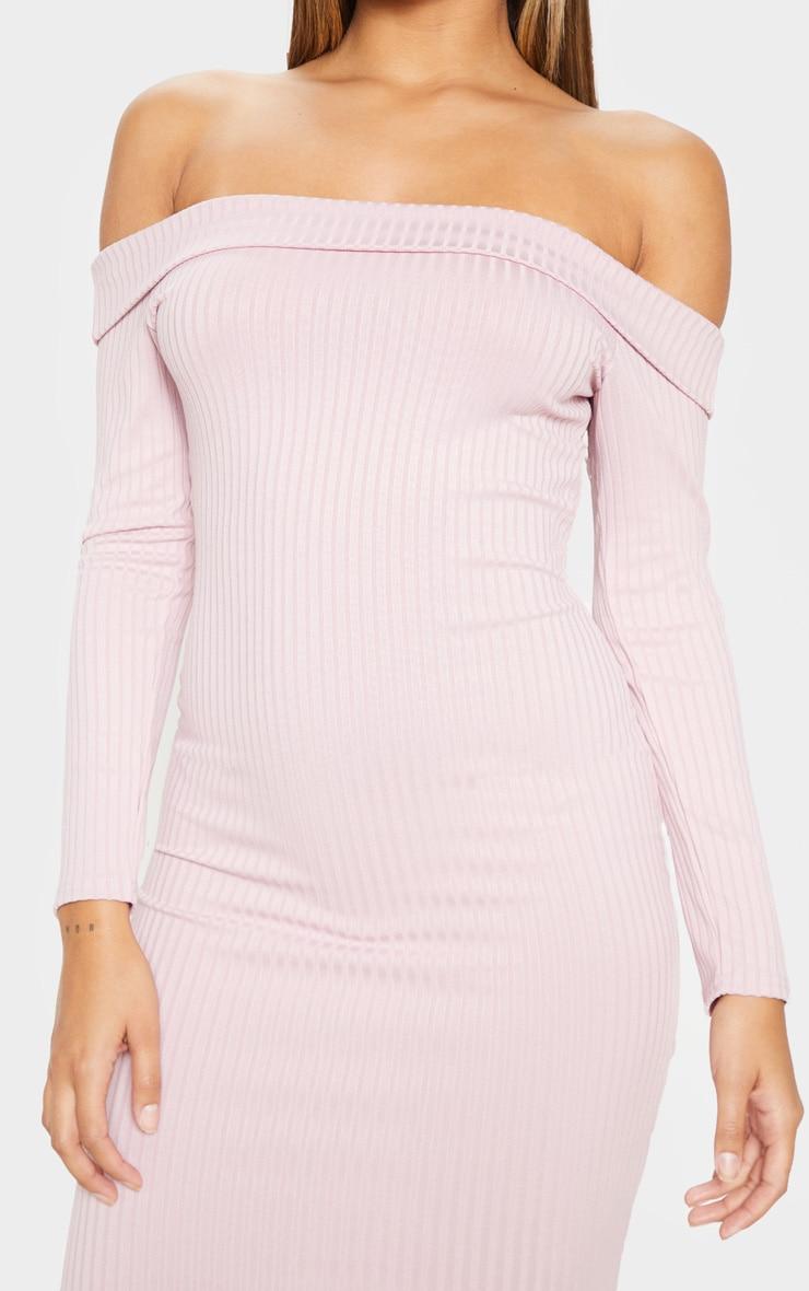 Dusty Lilac Ribbed Folded Bardot Midi Dress 5