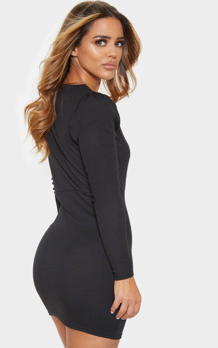 Petite Black Ribbed Long Sleeve Bodycon Dress 2