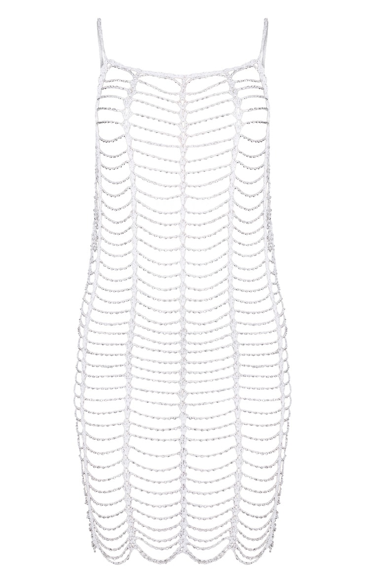 White Crochet Beaded Dress 3