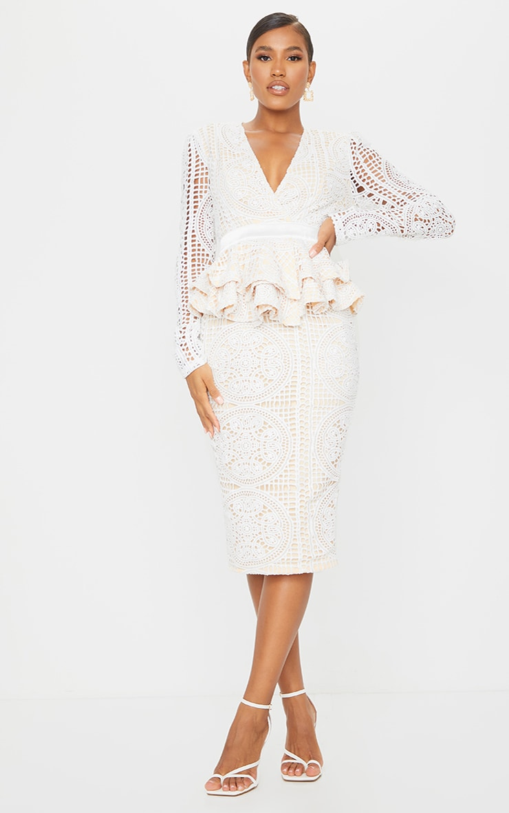 White Lace Plunge Peplum Frill Midi Dress 1