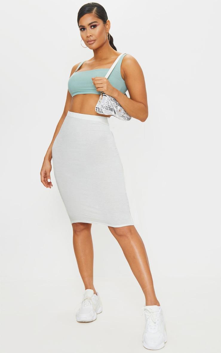 Cream Basic Midi Skirt 1