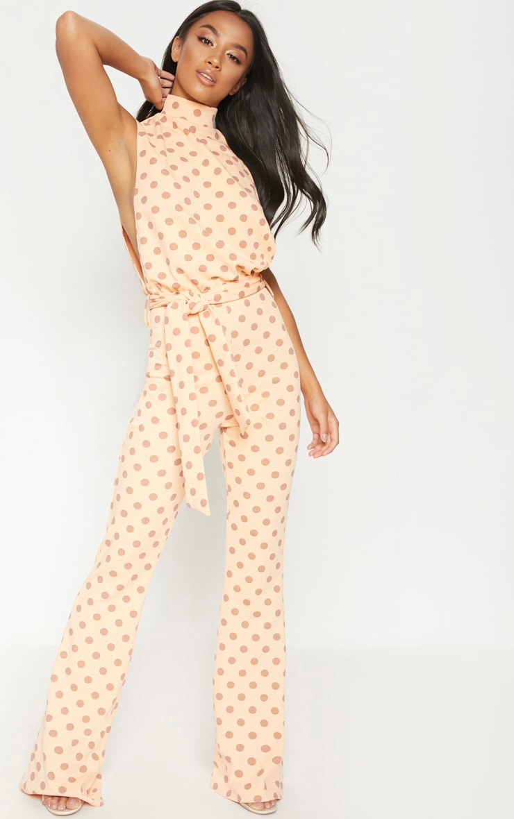 Petite Orange Polka Dot Scuba High Neck Tie Waist Jumpsuit 1