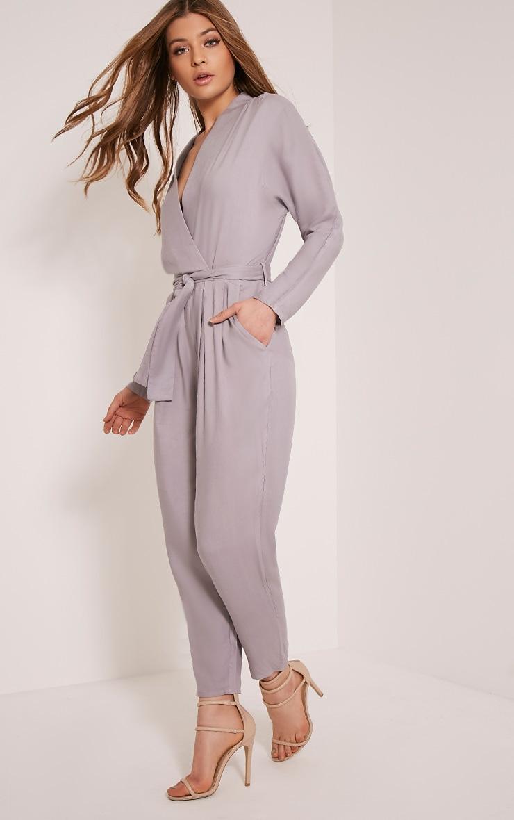 Briana Grey Wrap Jumpsuit 4