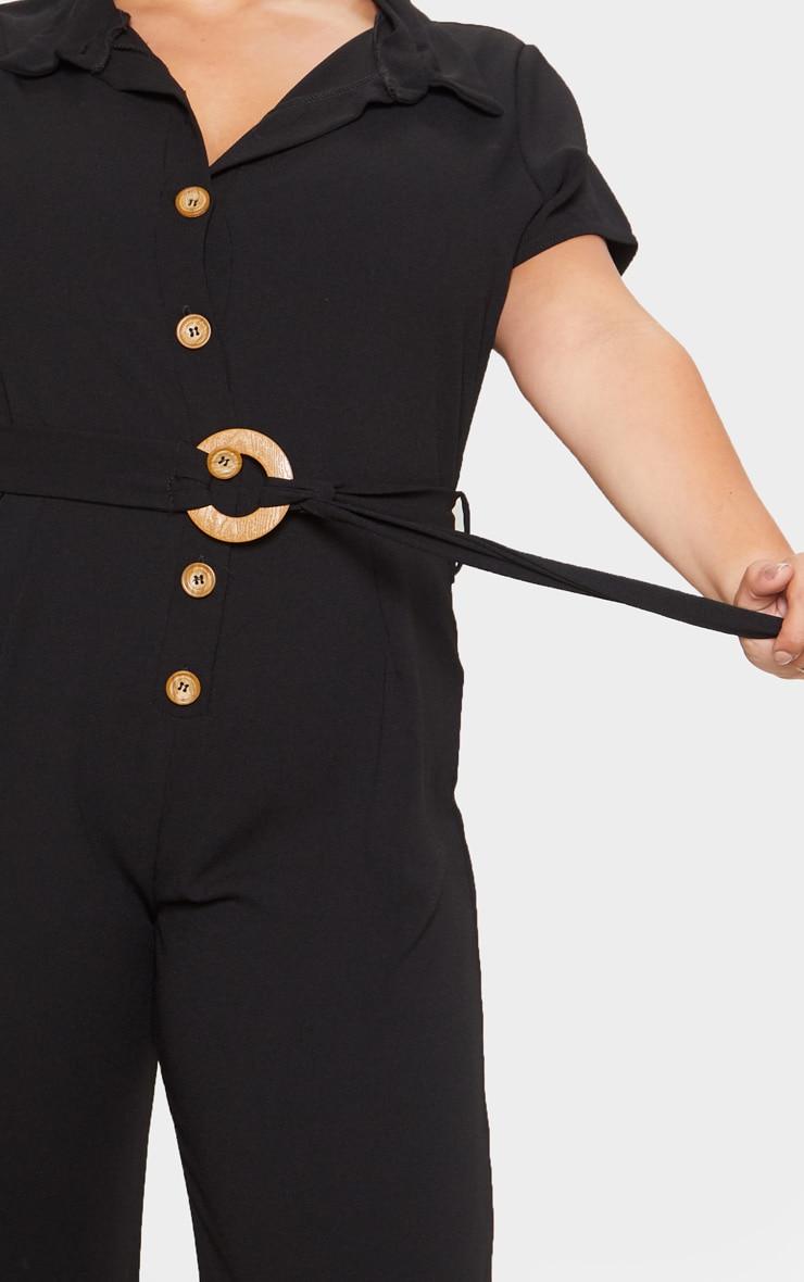 Plus Black Button Front Belt Detail Jumpsuit 5