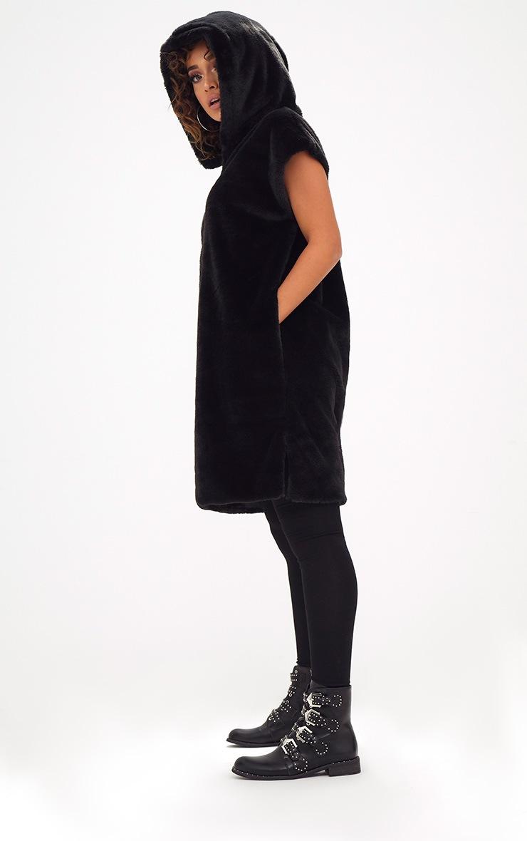 Black Oversized Zip Front Faux Fur Hoodie  4