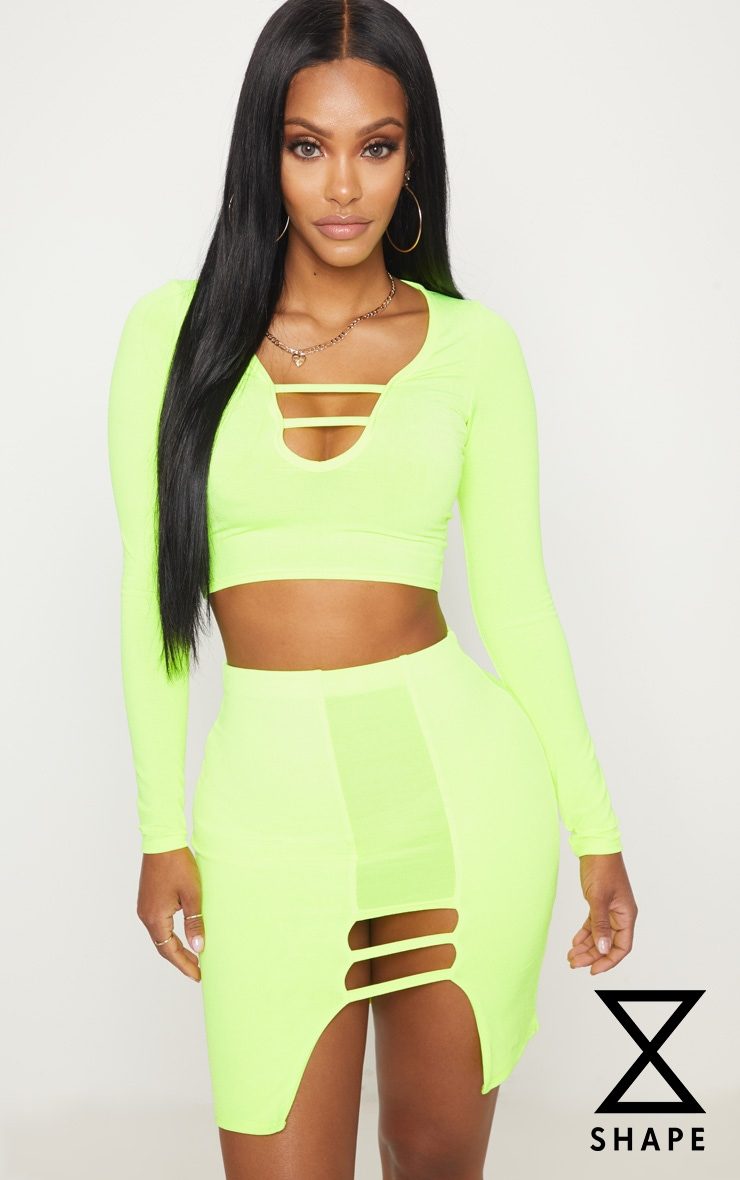 Shape Lime Slinky Cut Out Detail Bodycon Skirt
