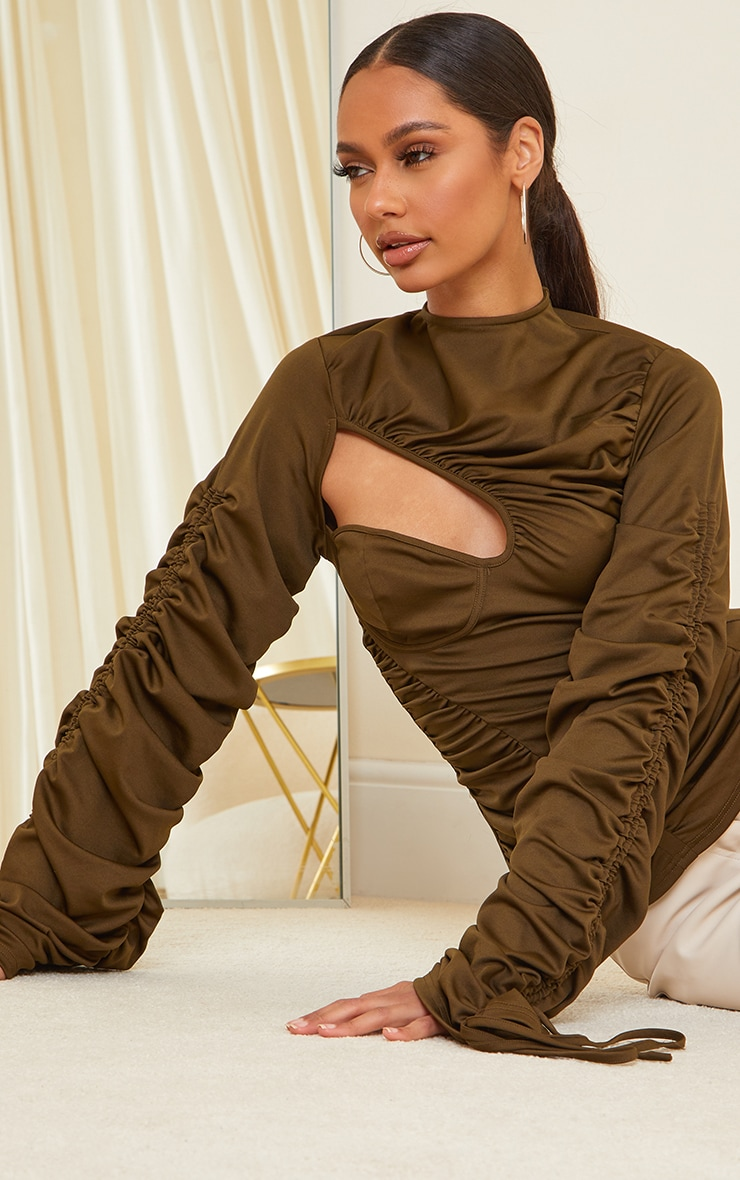 Khaki Scuba Extreme Ruching Detail Long Sleeve Long Top 4