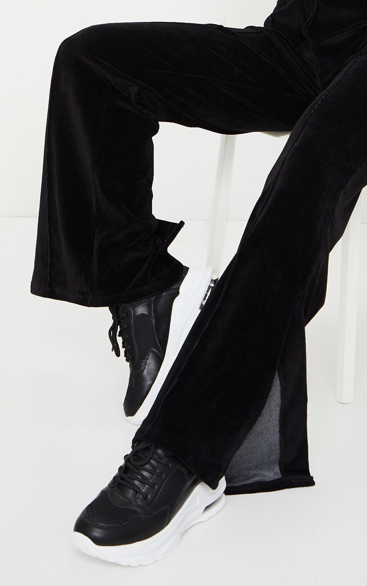 Black Velour Seam Detail Wide Leg Jogger 4
