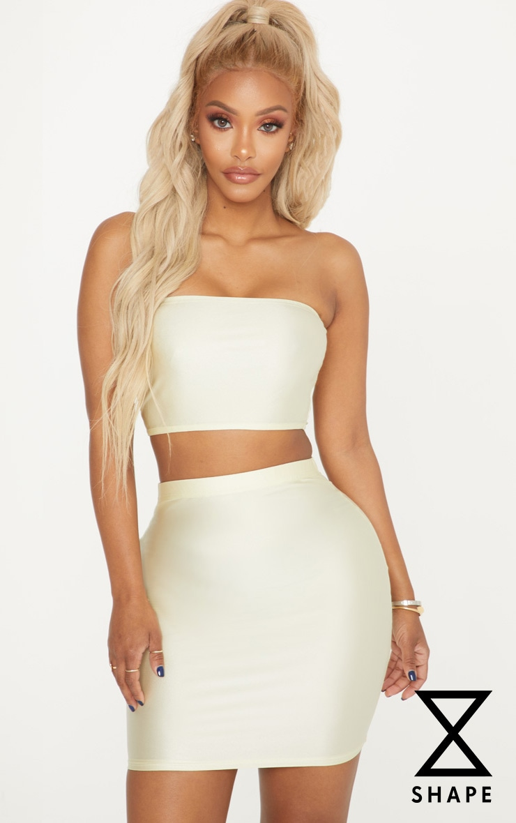 Shape Champagne Slinky Metallic Bandeau Crop Top 1