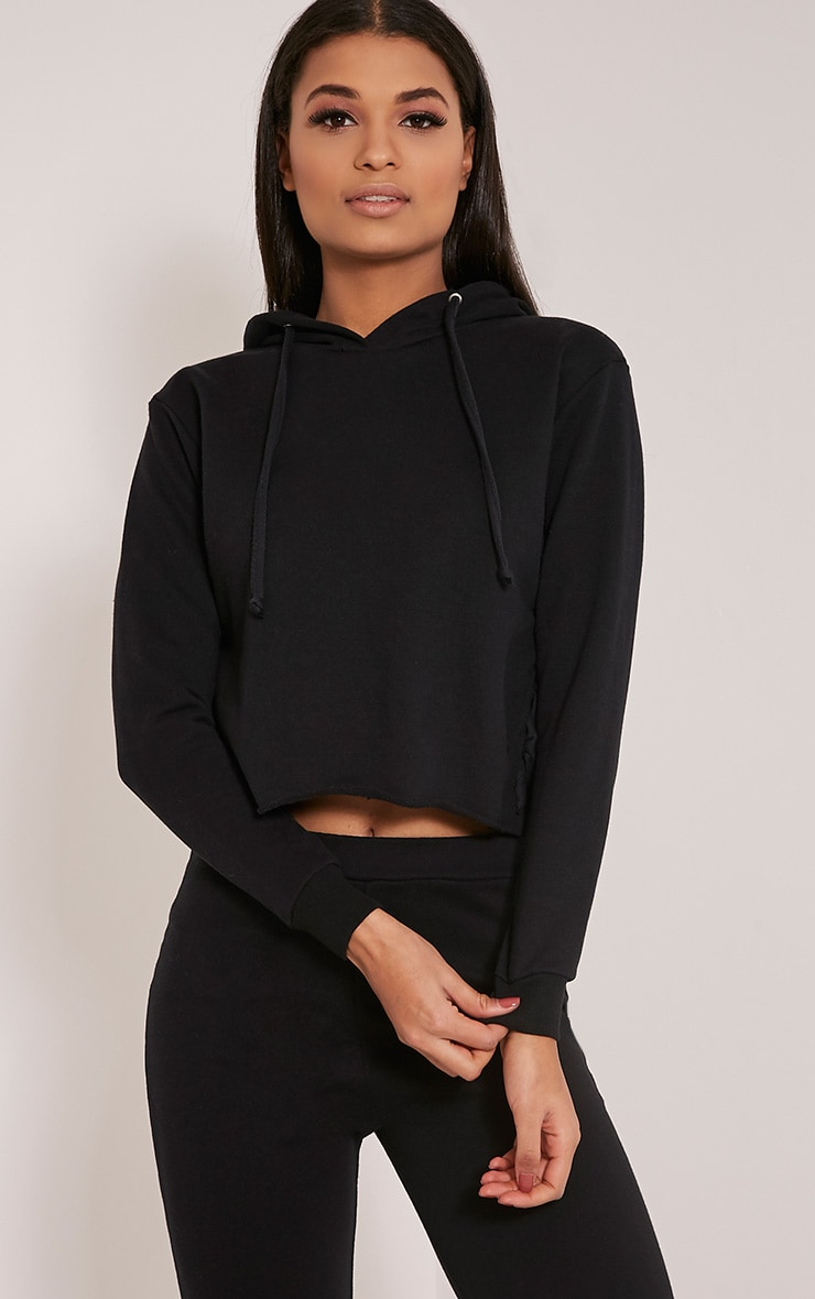 Pia Black Lace Up Side Cropped Sweater 1