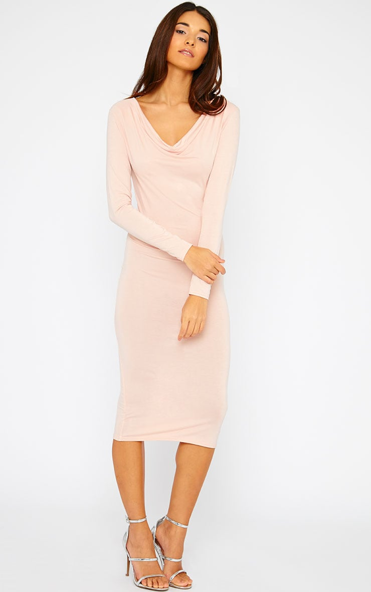 Lise Nude Jersey Cowl Neck Midi Dress  4