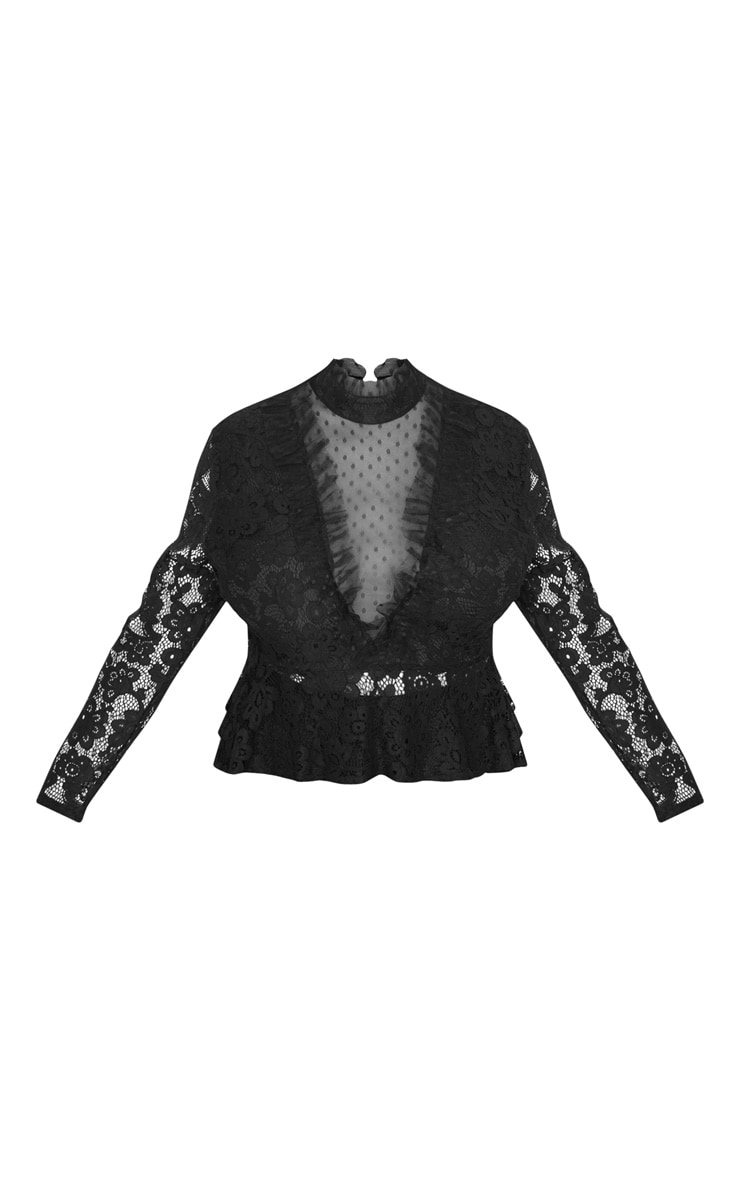 Plus Black Laced High Neck Blouse 3