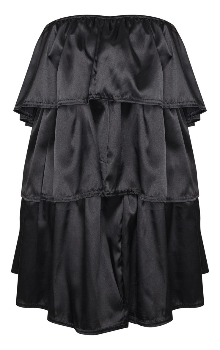Black Satin Tiered Bandeau Shift Dress 3