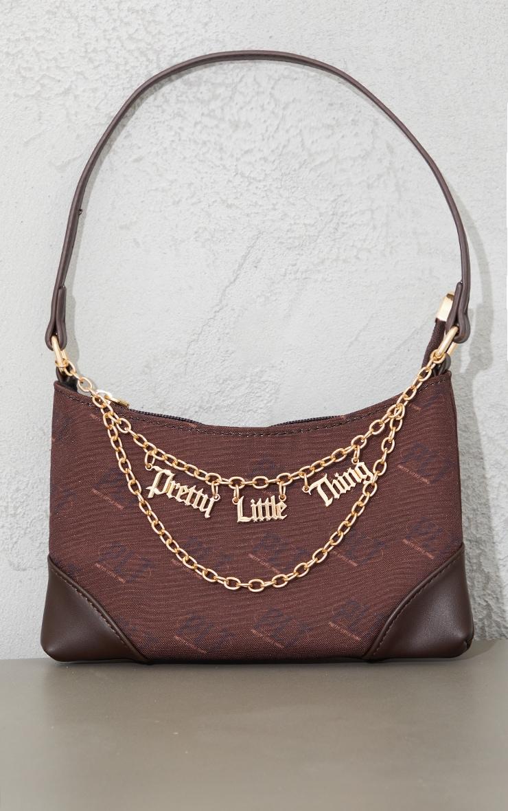 PRETTYLITTLETHING Chocolate Monogram Gold Chain Shoulder Bag 2