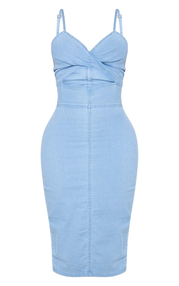 Shape Light Wash Denim Twist Front Midi Dress 5
