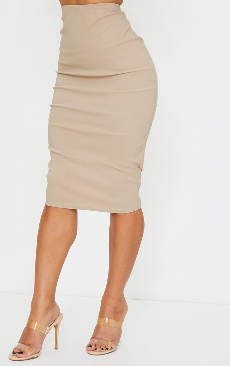 Stone Stretch High Waist Midi Skirt 2
