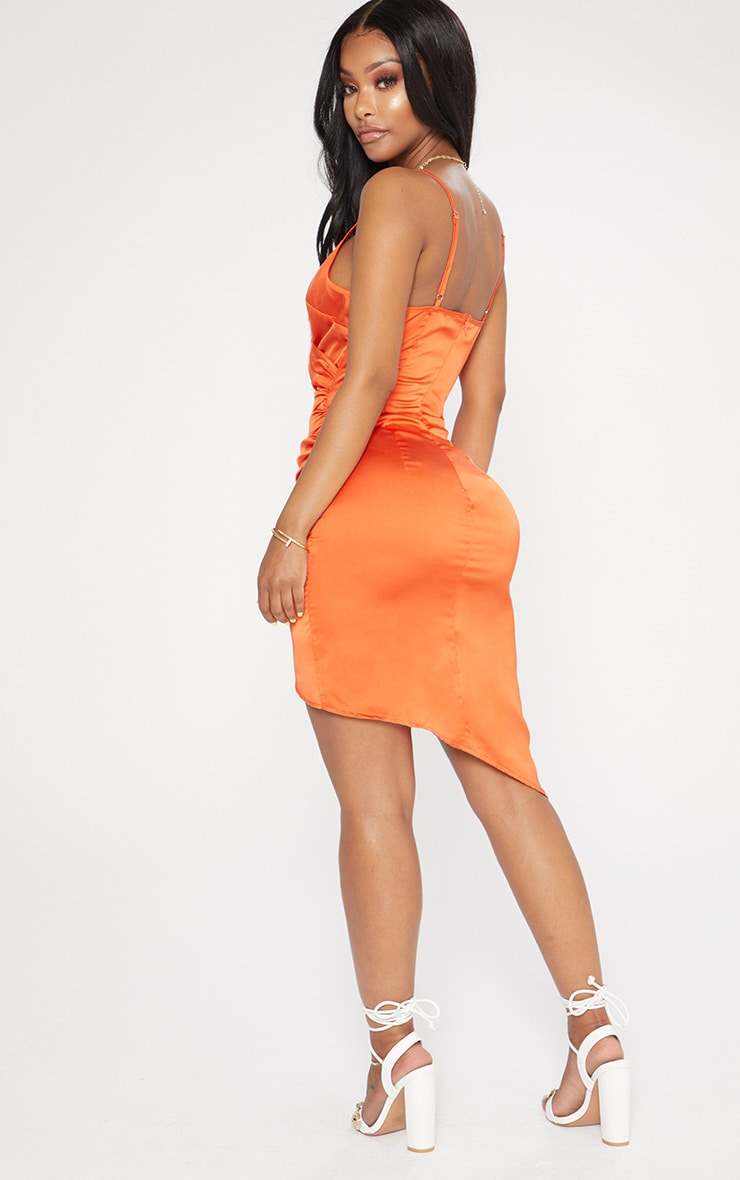 Shape Tangerine Satin Wrap Dress 2