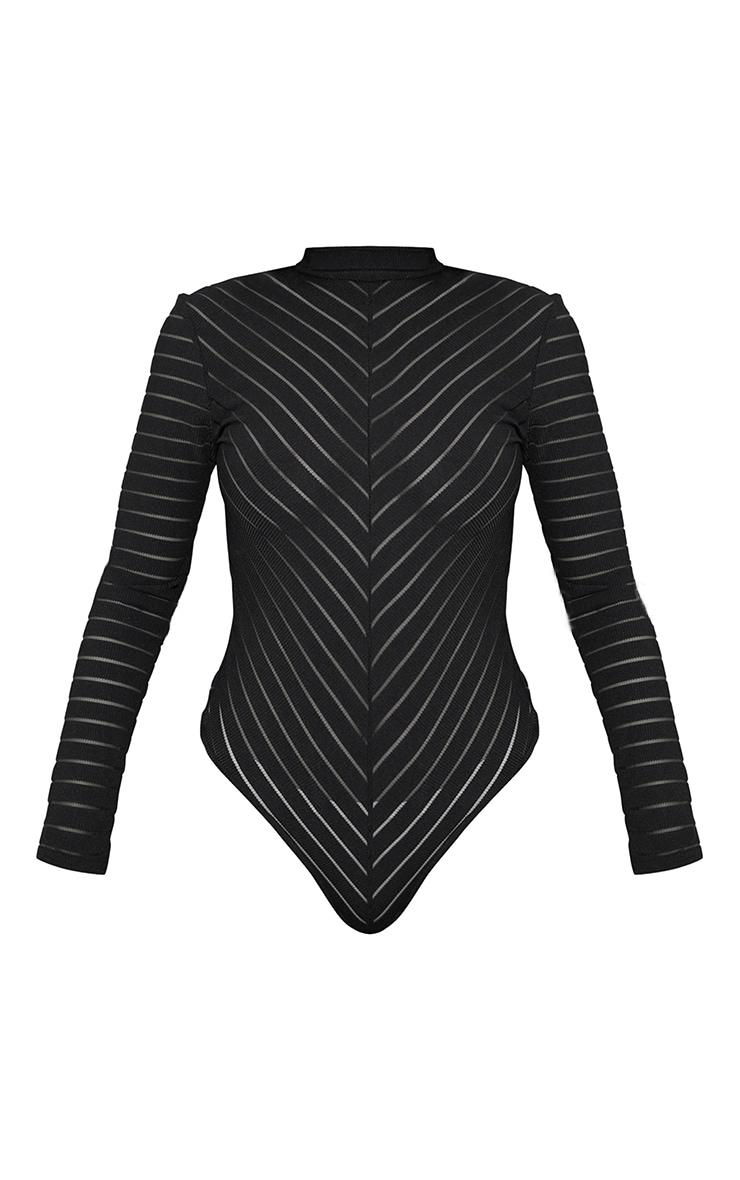 Body-string à chevrons noirs en mesh à manches longues 5