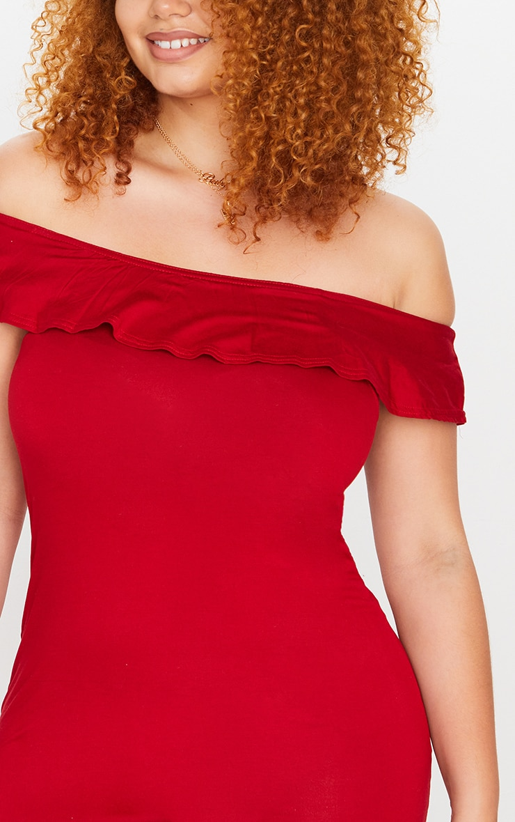Plus Basic Red Bardot Frill Detail Bodycon Dress 4