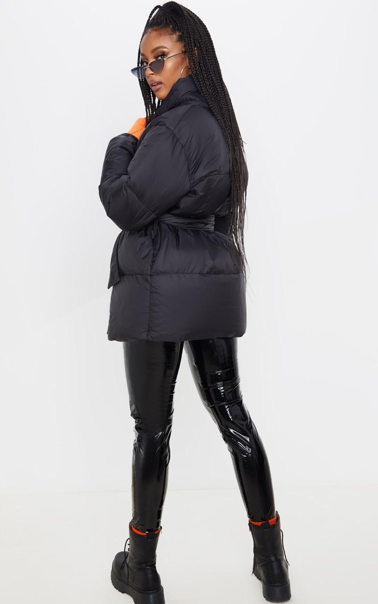 Black Collar Tie Waist Puffer Coat 2