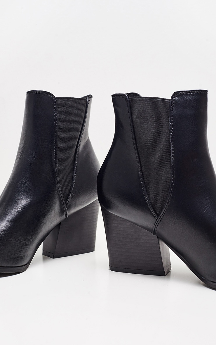Bottines noires similicuir pointues western style Chelsea 3