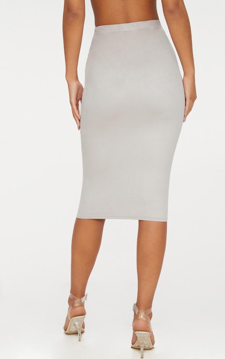 Grey Faux Suede Midi Skirt  4