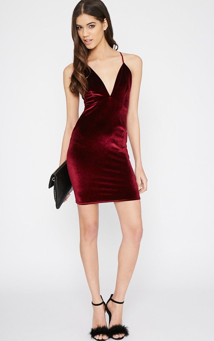 Zina Wine Velvet Mini Dress 4