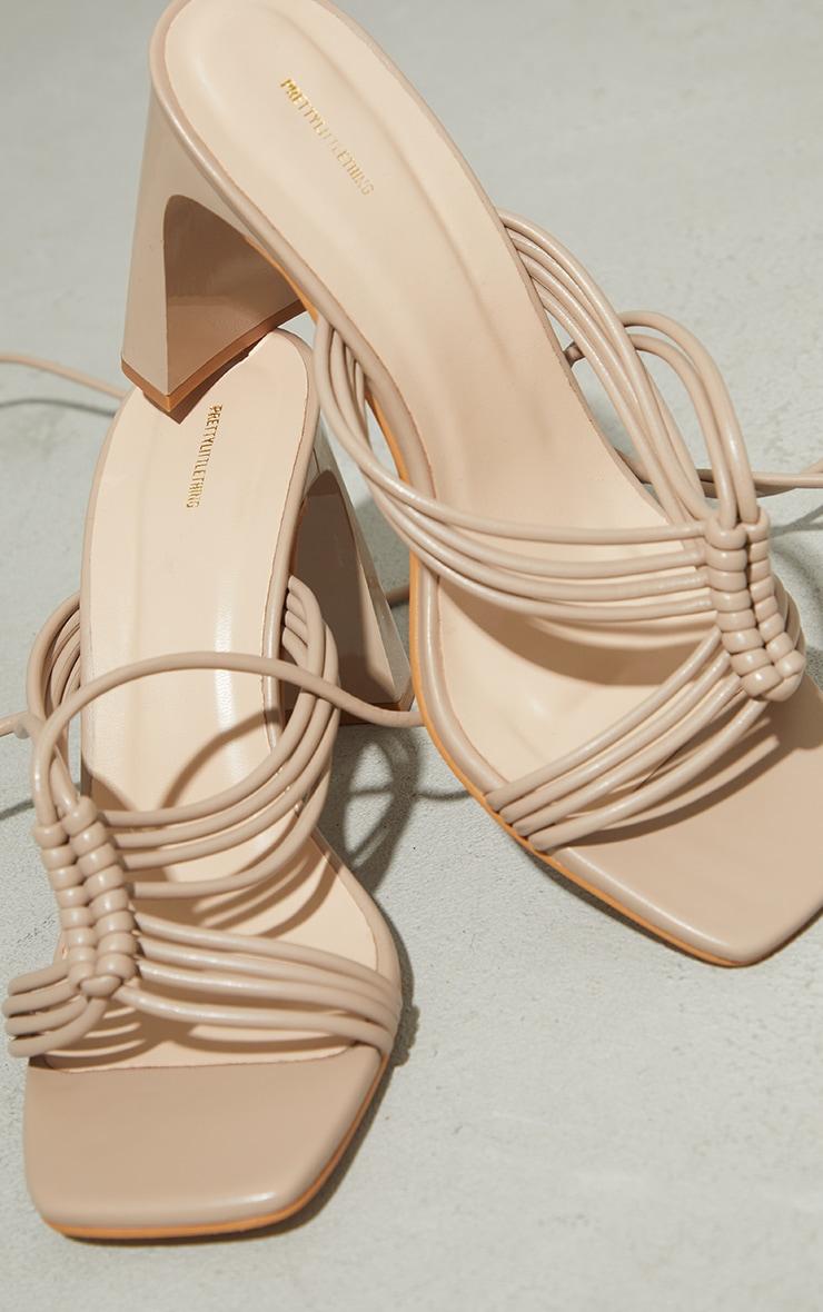 Stone PU Knot Lace Up Flat Mid Heeled Sandals 4