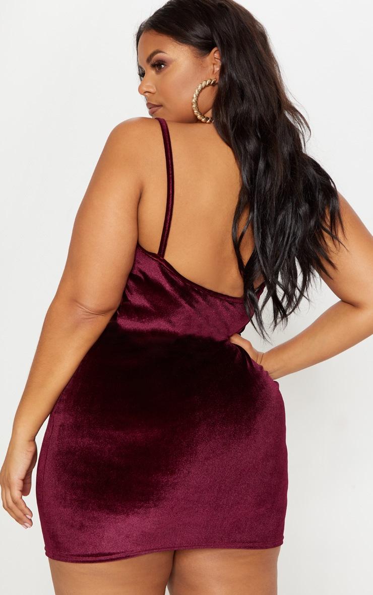 Plus Burgundy Velvet Straight Neck Bodycon Dress 2