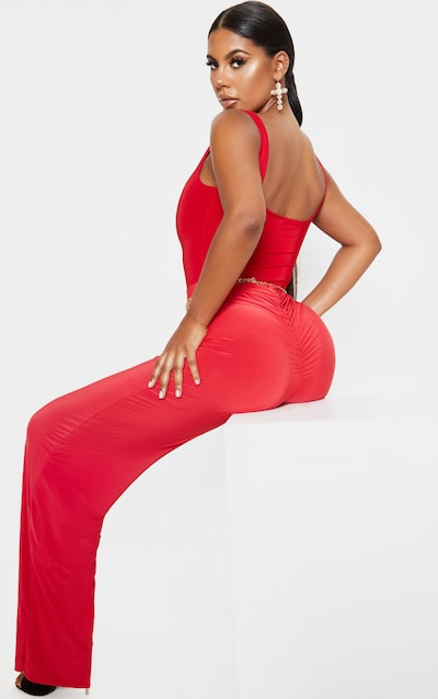 Red Slinky Wide Leg Trouser