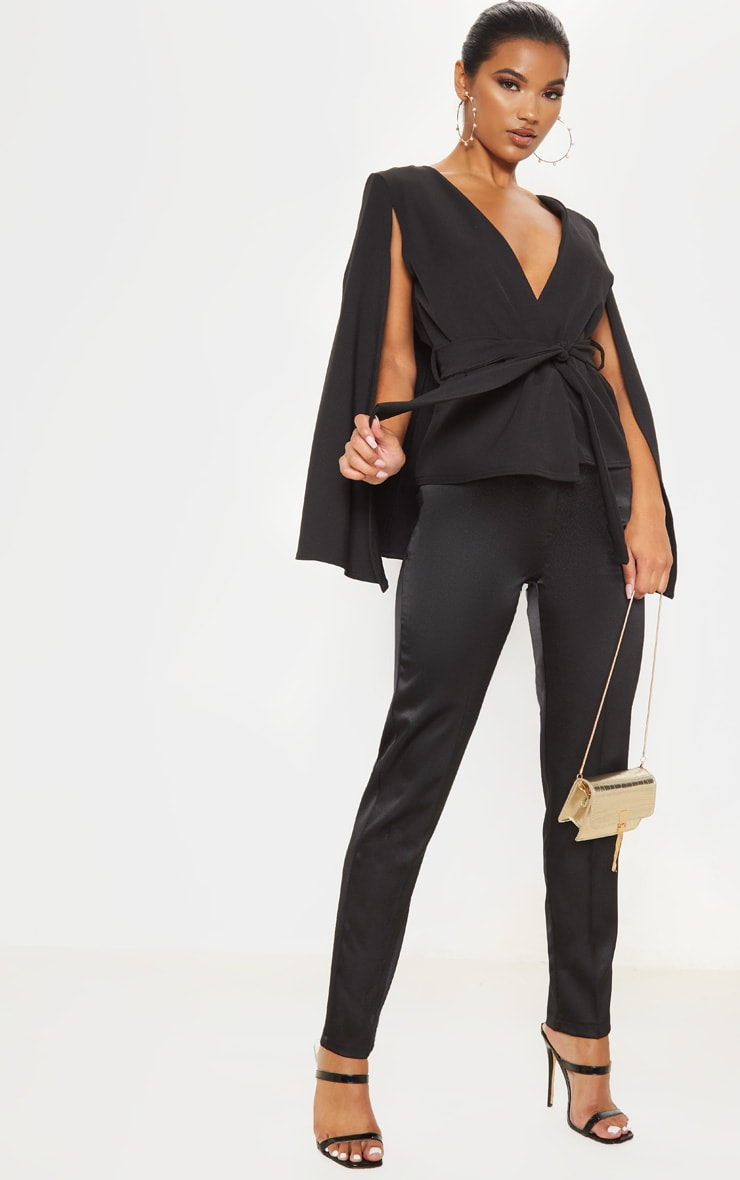 Black Crepe Belted Cape Blazer 4