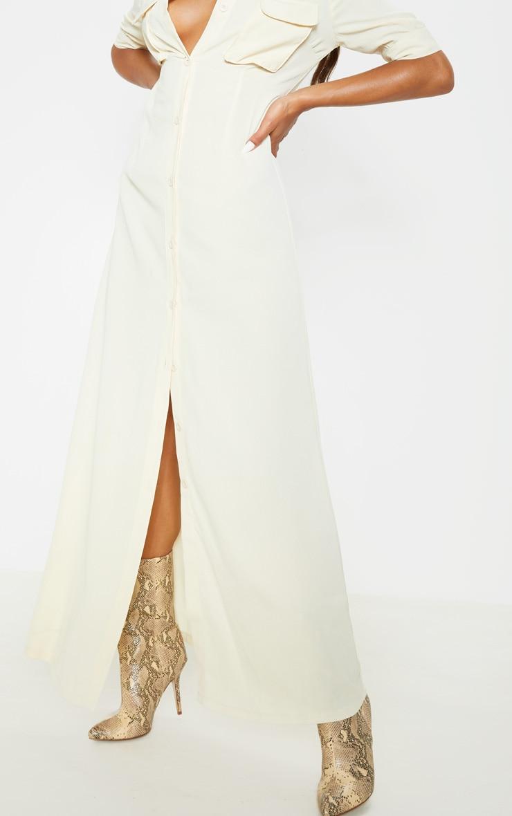 Cream Short Sleeve Maxi Shirt Dress  5