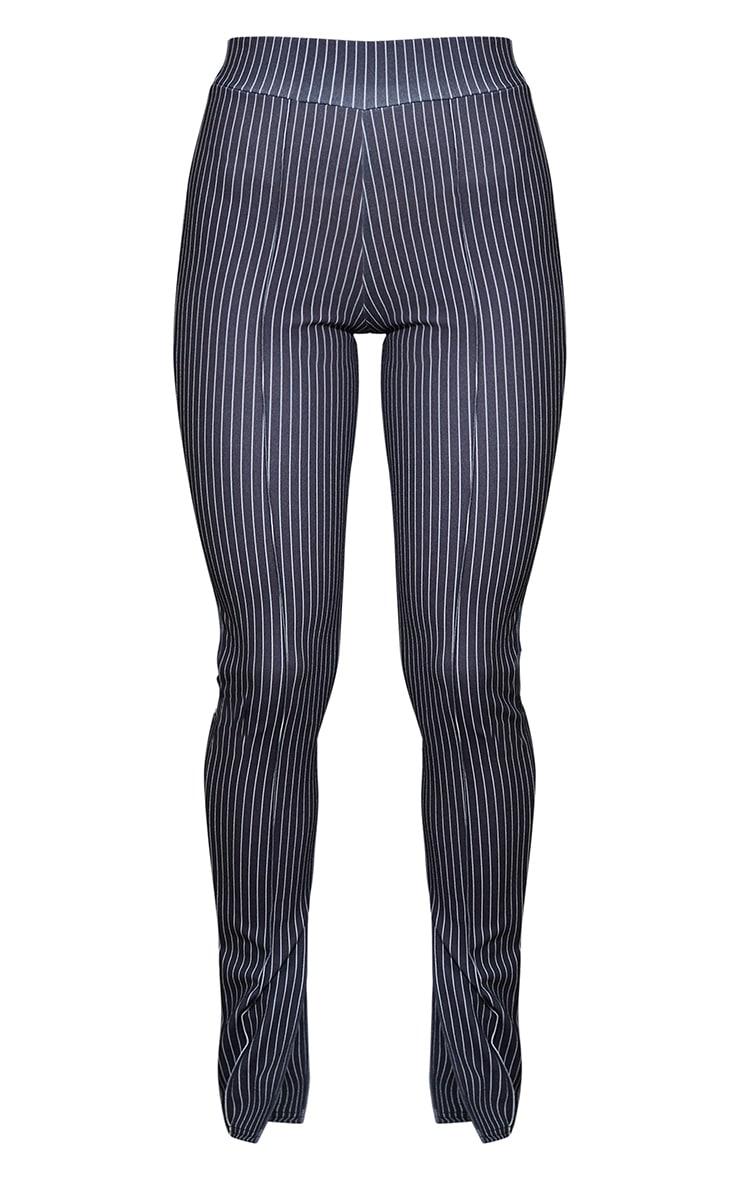 Pantalon skinny rayé noir à détail coutures et ourlet fendu 5