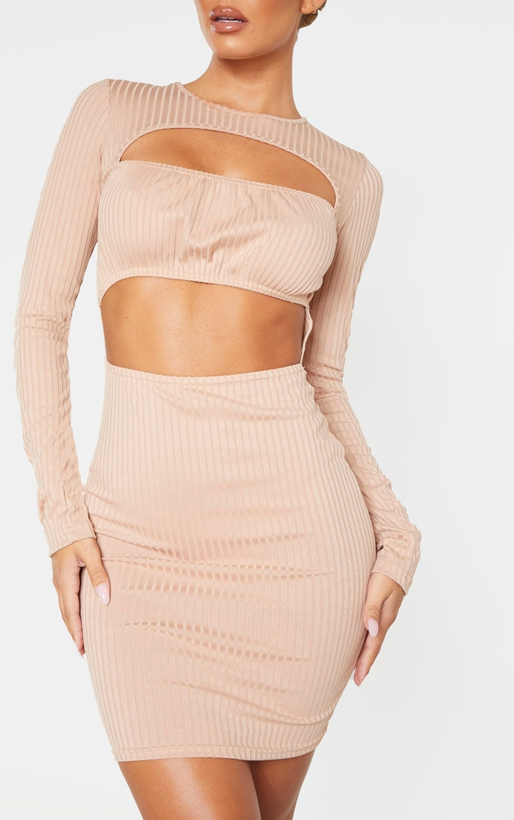 Stone Ribbed Long Sleeve Ruched Bust Bodycon Dress 5